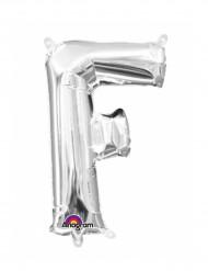 Zilverkleurige letter F ballon
