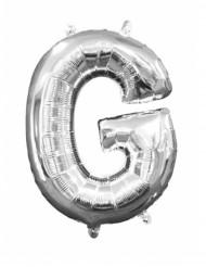 Zilverkleurige letter G ballon