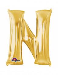 Goudkleurige letter N ballon
