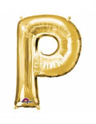Goudkleurige letter P ballon
