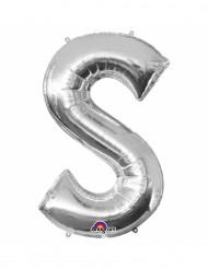 Zilverkleurige letter S ballon