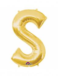 Goudkleurige letter S ballon