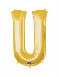 Goudkleurige letter U ballon