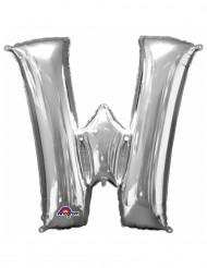 Zilverkleurige letter W ballon