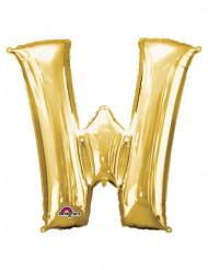 Goudkleurige letter W ballon