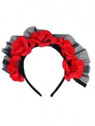 Rode Día de los Muertos haarband met rozen