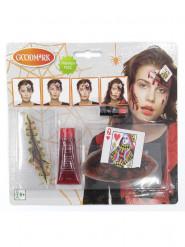 Bloederige speelkaart schminkset voor volwassenen