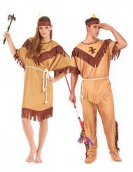 Tweekleurig indianen koppelkostuum voor volwassenen