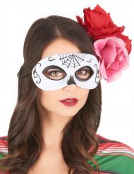 Wit met zwart Dia de los Muertos masker