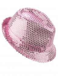 Roze borsalino hoed met lovertjes