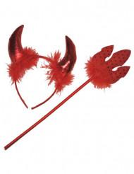 Rode duivelset met veren voor volwassenen