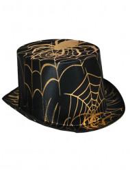 Zwarte en goudkleurige spinnen hoge hoed voor volwassenen