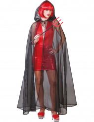 Zwarte doorzichtige cape voor volwassenen