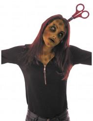 Halloween haarband met bebloede schaar voor volwassenen
