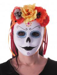 Dia de los Muertos haarband met rode en oranje bloemen