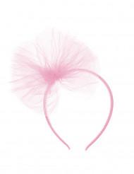 Lichtroze haarband met tule strik voor kinderen
