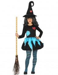 Zwart met blauw heksen kostuum voor meisjes