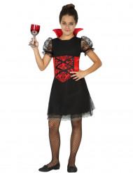 Zwart met rood vampier kostuum voor meisjes