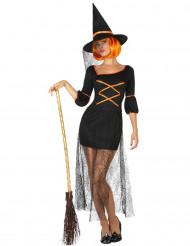 Sexy zwart en oranje heksen kostuum