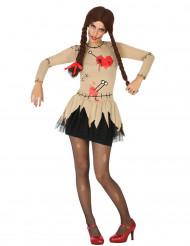 Beige voodoo pop kostuum voor vrouwen