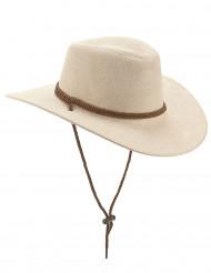 Beige suède cowboyhoed voor volwassenen