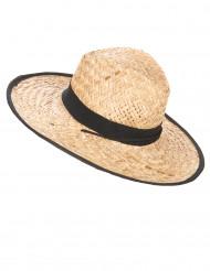 Cowboy hoed met zwarte rand en lint