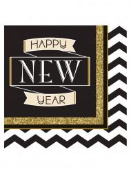 16 zwart met goud Happy New Year servetten