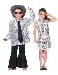 Zilverkleurig pailletten disco koppelkostuum voor kinderen