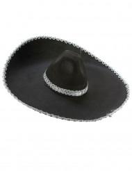 Zwarte sombrero hoed met zilveren rand volwassenen