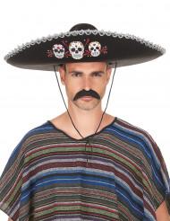 Zwarte Dia de los Muertos sombrero hoed