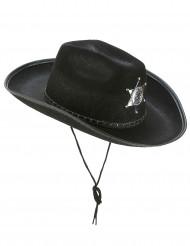 Zwarte Sherif hoed voor volwassenen