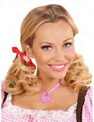 Roze Beierse hart ketting voor vrouwen