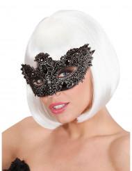 Zwart halfmasker met steentjes voor volwassenen