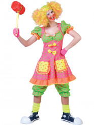 Fluo clown kostuum met stippen voor vrouwen