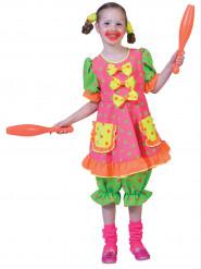 Fluo clownskostuum met stippen voor meisjes