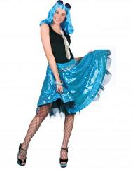 Blauwe disco rok met lovertjes voor vrouwen