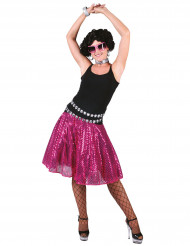 Roze disco rok met lovertjes voor vrouwen