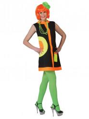 Zwart en fluo sixties kostuum voor vrouwen