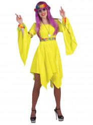 Fluo geel hippie jurk voor vrouwen