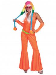 Fluo oranje discokostuum voor vrouwen