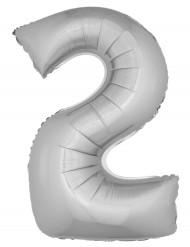 Zilverkleurige nummer 2 ballon