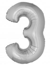 Zilverkleurig cijfer 3 ballon
