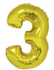 Goudkleurige nummer 3 ballon