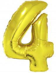 Goudkleurige cijfer 4 ballon 102 cm
