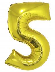 Goudkleurige cijfer 5 ballon