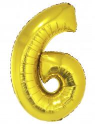 Goudkleurige cijfer 6 ballon 102 cm