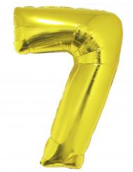 Goudkleurige cijfer 7 ballon 102 cm