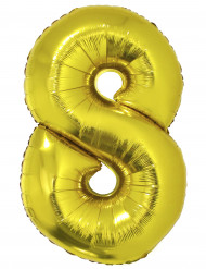 Goudkleurige folieballon cijfer 8