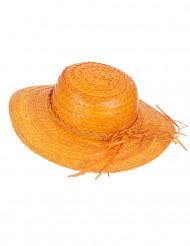Vintage oranje strohoed voor vrouwen