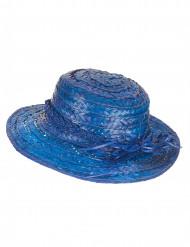 Blauwe vintage strohoed voor vrouwen